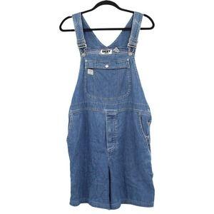 DKNY Jeans Denim Bib Shortalls Overall Shorts Blue Medium Wash Adjustable Medium